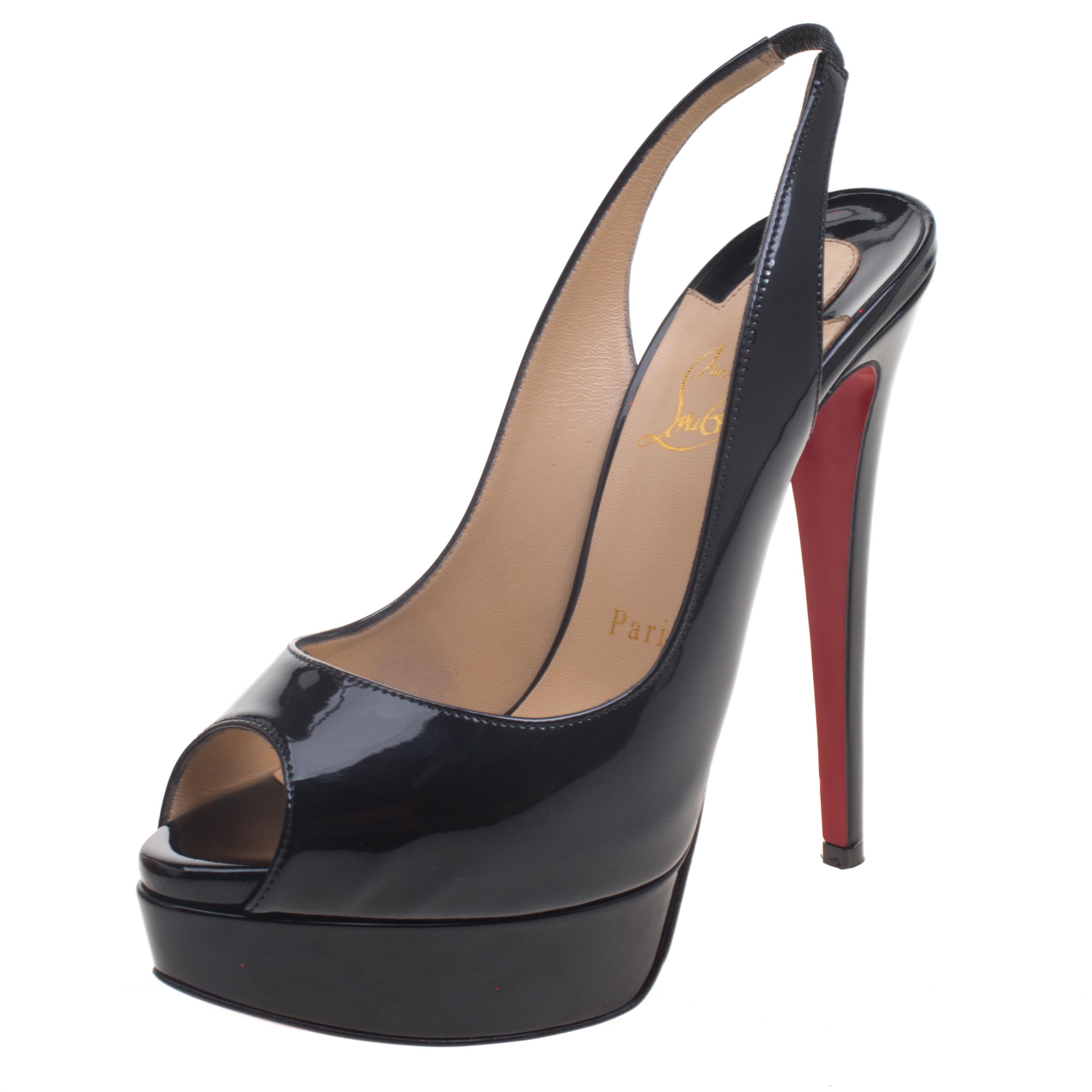 5a4849c44fef ... Christian Louboutin Black Patent Leather Lady Peep Toe Platform  Slingback Sandals Size 37.5. nextprev. prevnext