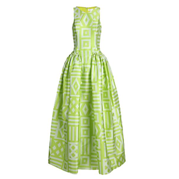 Christian Siriano Lime Geometric-Print Gown M