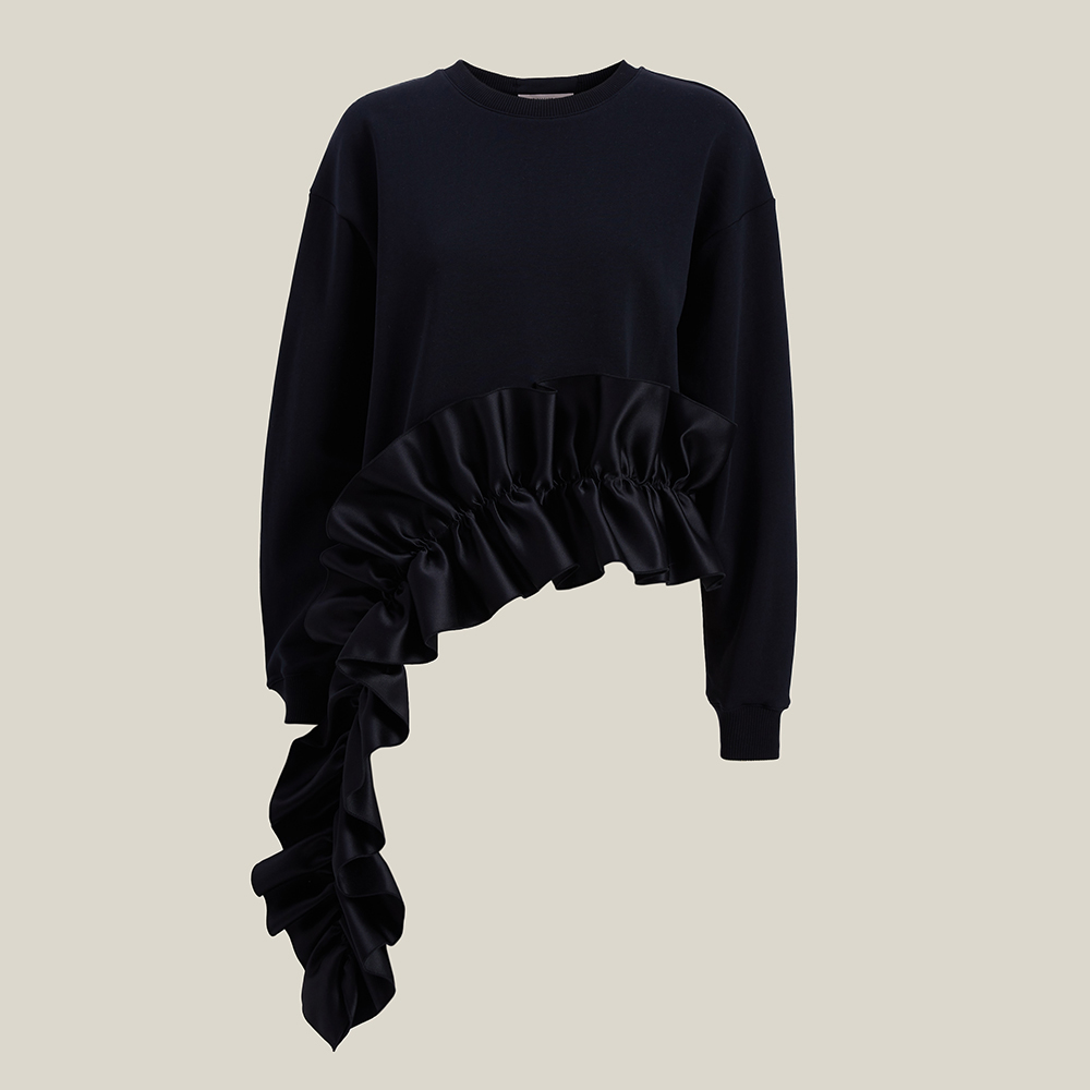 Christopher Kane Black Ruffled Asymmetric Hem Cotton Sweatshirt L
