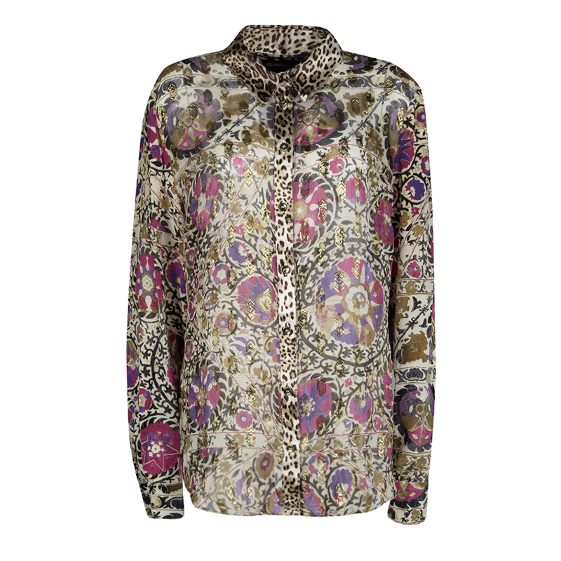 9c37a06c35a8d ... Roberto Cavalli Floral and Animal Printed Silk Lurex Detail Shirt XL.  nextprev. prevnext