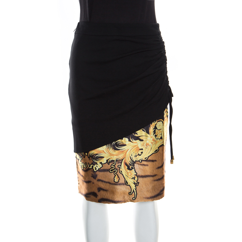 reputable site 464e0 a8912 Class By Roberto Cavalli Black Printed Ruched Detail Layered Midi Skirt M