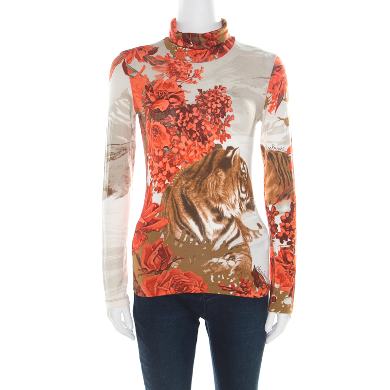 Class by Roberto Cavalli Multicolor Floral and Tiger Figure Printed Long Sleeve Top M