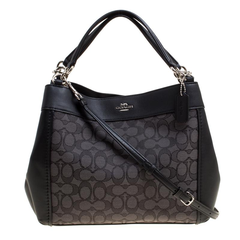 600454e7a ... Coach Black Signature Canvas and Leather Small Lexy Shoulder Bag.  nextprev. prevnext