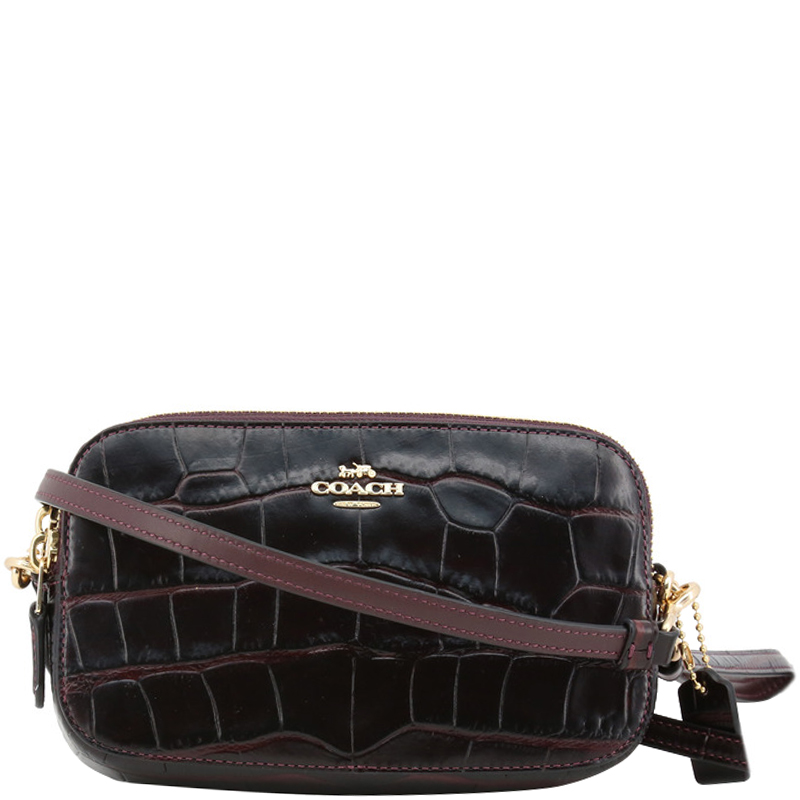 e40fb6ef5ab76 Buy Coach Dark Brown Croc Embossed Leather Crossbody Bag 161880 at ...