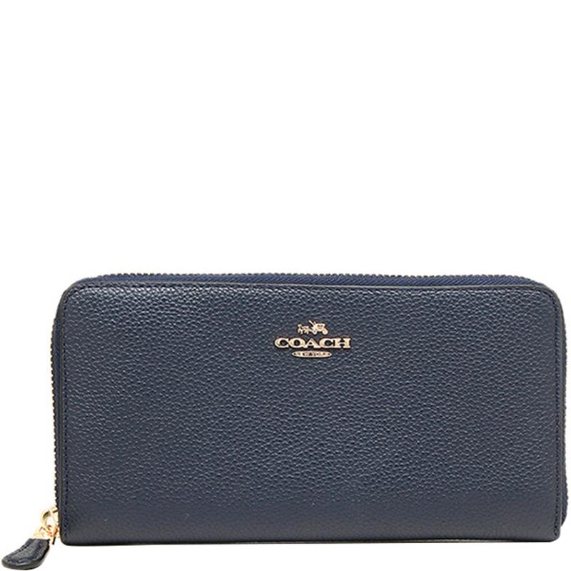 6e8ca14847 Coach Blue Leather Accordion Zip Around Wallet