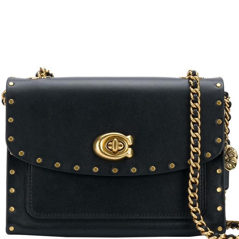 0b3dd5987 Buy Coach Black Leather Rivets Parker 18 Bag 172044 at best price | TLC
