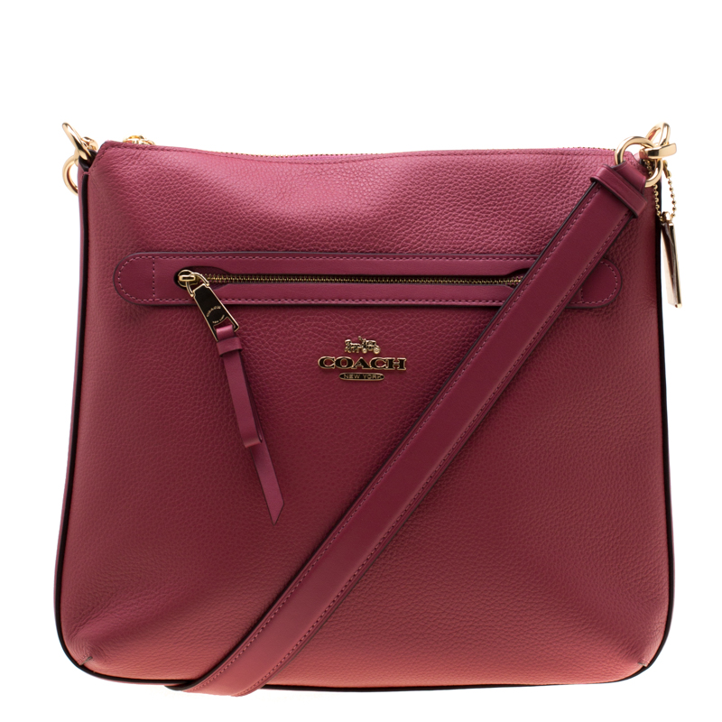 40ea414249 Buy Coach Coral Pink Leather Mae Crossbody Bag 197023 at best price ...
