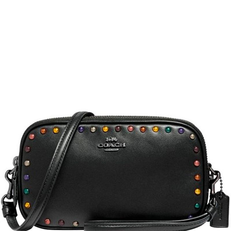 be5d87a3 Coach Black Leather Sadie Crossbody Bag
