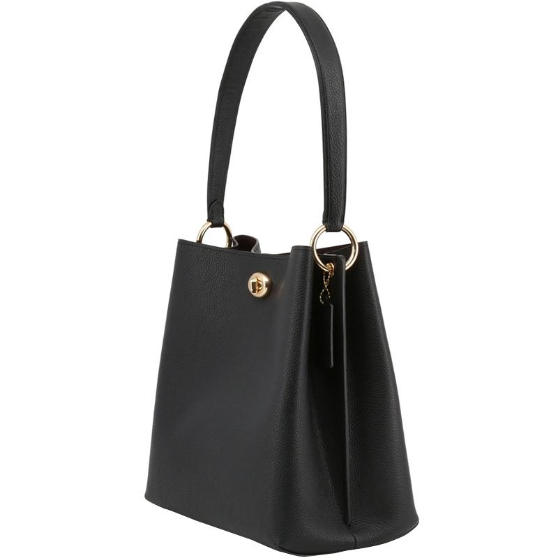 Coach Black Polished Pebble Leather Charlie Bucket Bag