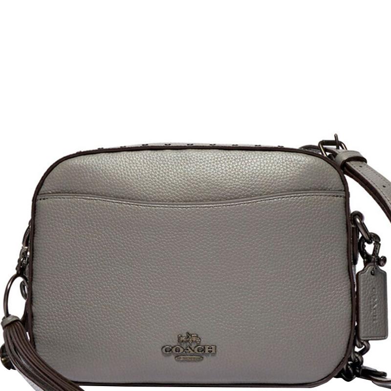 Coach Grey Pebbled Leather Camera Bag
