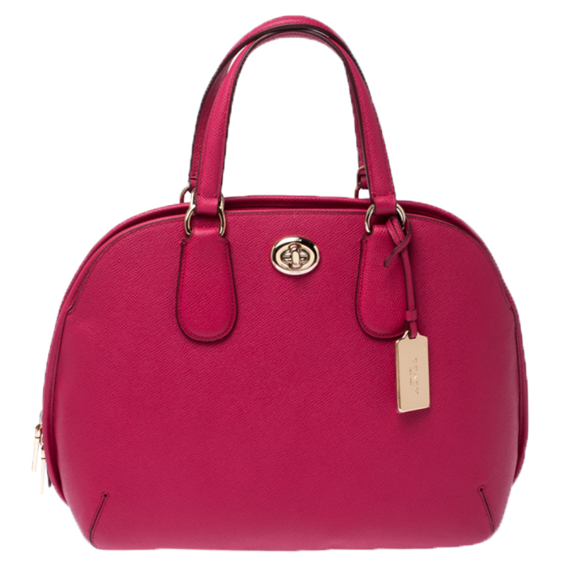 Coach Neon Pink Leather Prince Street Satchel