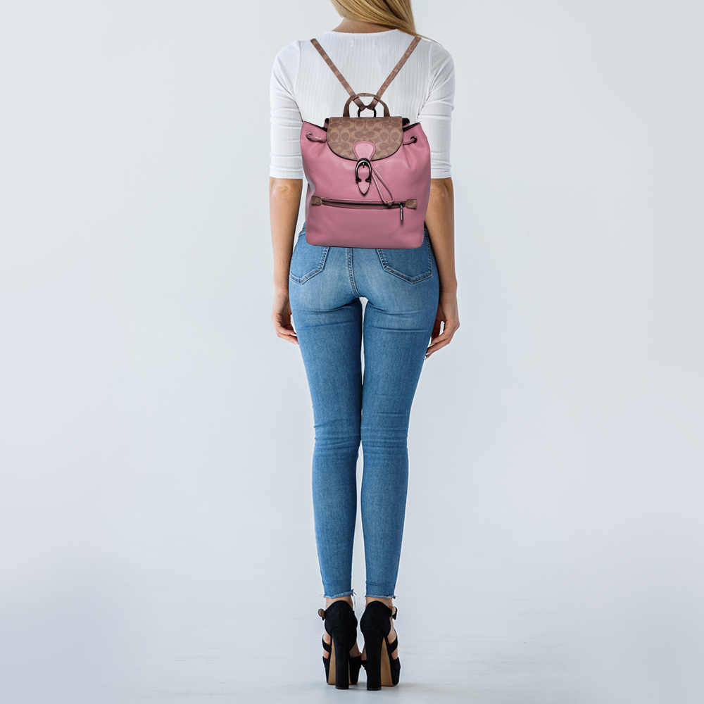 Coach Brown/Pink Leather and Signature Canvas Blocking Evie Backpack