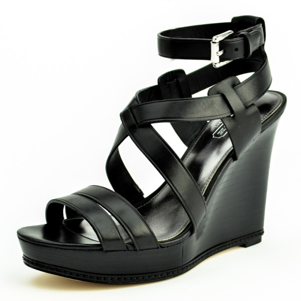 Coach Black Leather Macey Wedges Sandals Size 36.5