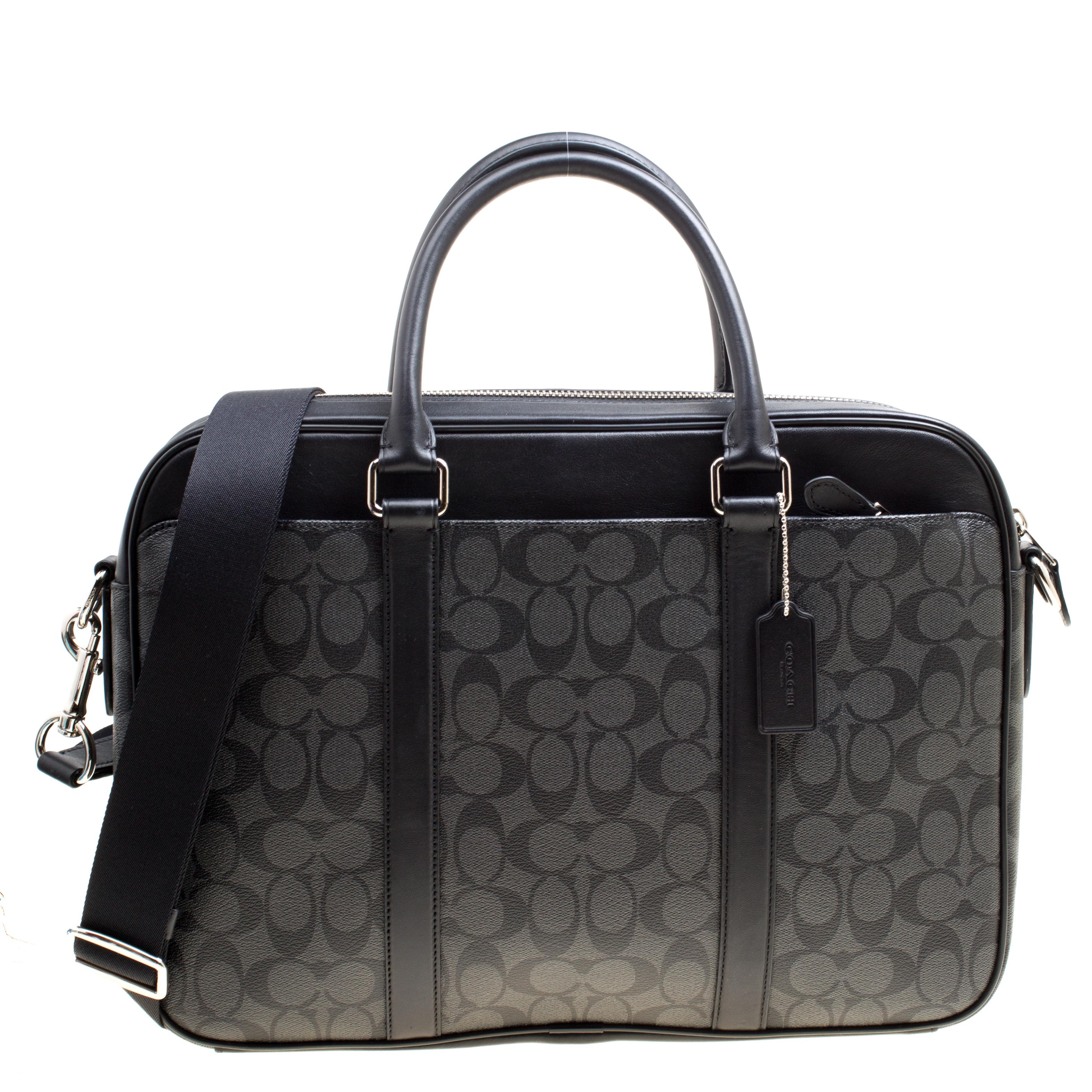 3e776d6d7e2ac Buy Coach Black Signature Canvas and Leather Slim Laptop Bag 161457 ...