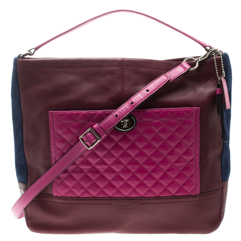 2802f42c97f2 Buy Coach Multicolor Leather and Suede Colorblock Park Hobo 102879 at best  price