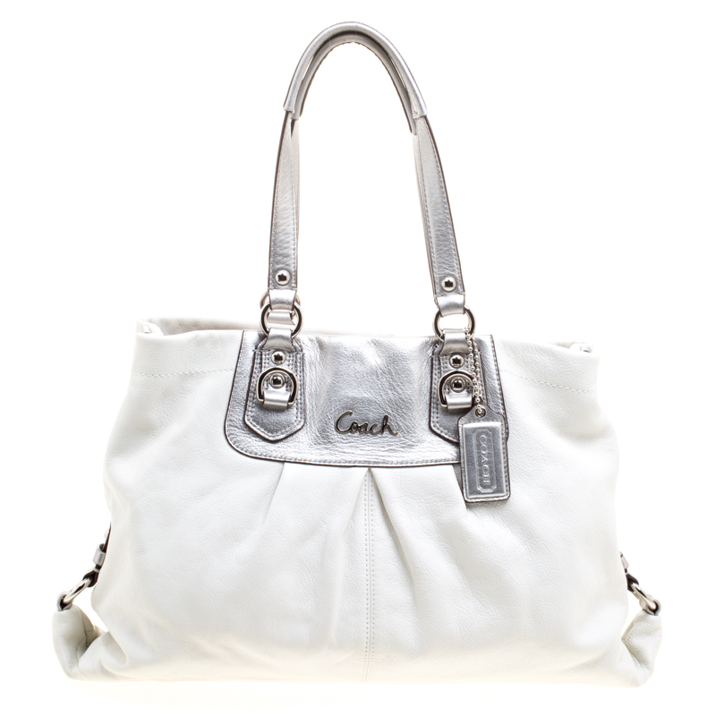Coach White Silver Leather Ashley Tote