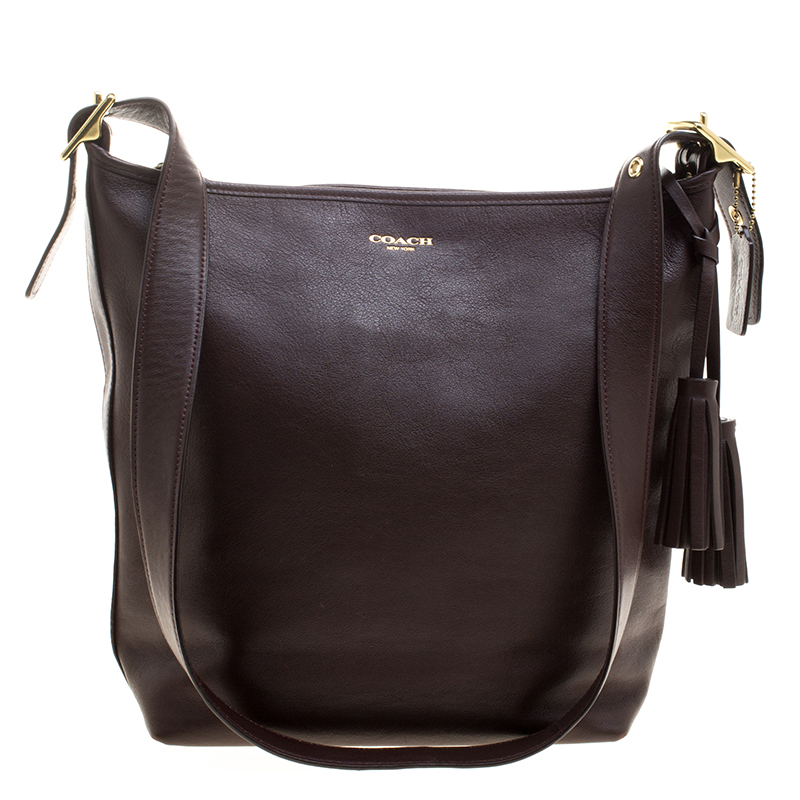 buy coach dark brown leather tassel crossbody bag 126812 at best rh theluxurycloset com