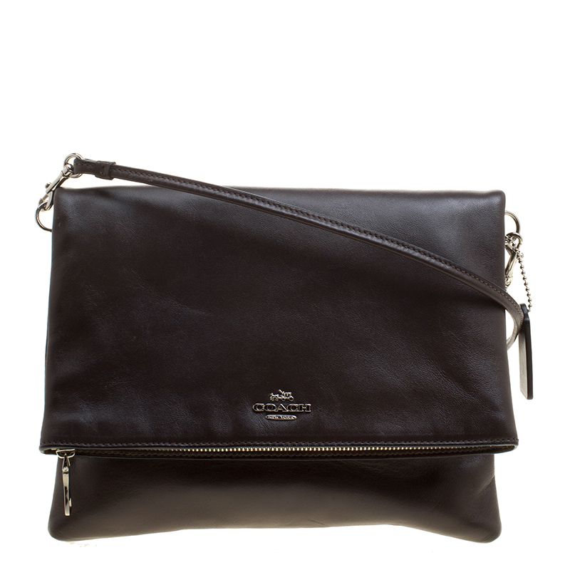 b9e21defd631 Buy Coach Brown Leather Foldover Crossbody Bag 129184 at best price ...