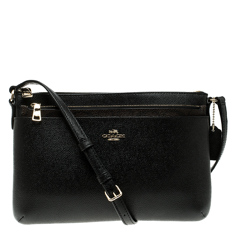 b372150663 Buy Coach Black Leather Journal Crossbody Bag 135360 at best price
