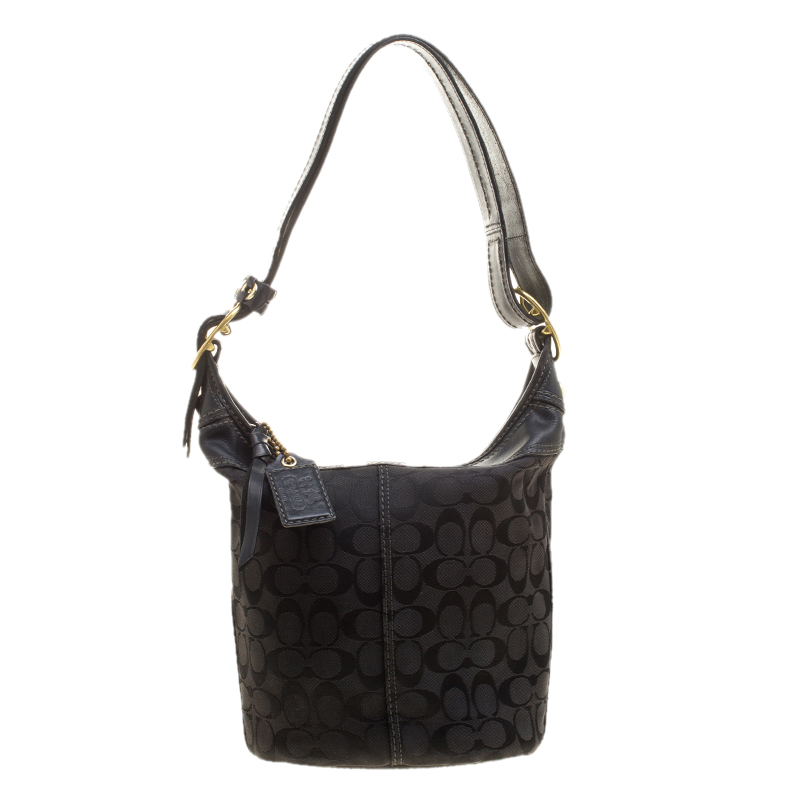 f6bea73fac51 Buy Coach Black Signature Canvas Bucket Hobo 137380 at best price