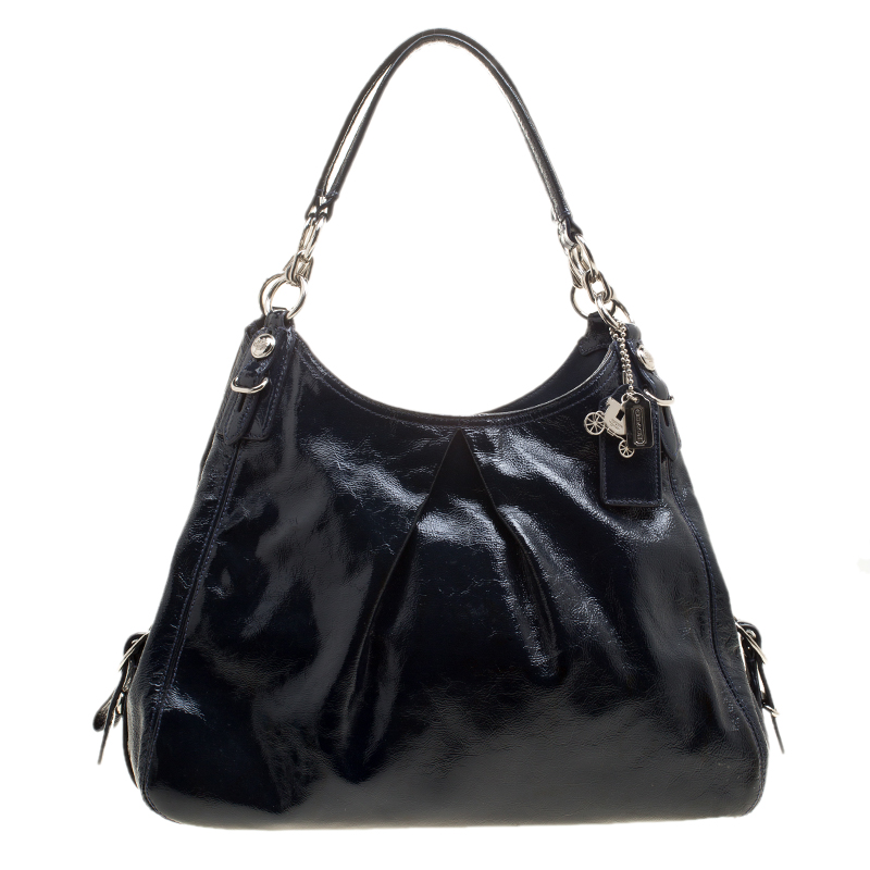 b8b4929f74 Buy Coach Navy Blue Patent Leather Maggie Shoulder Bag 137573 at ...