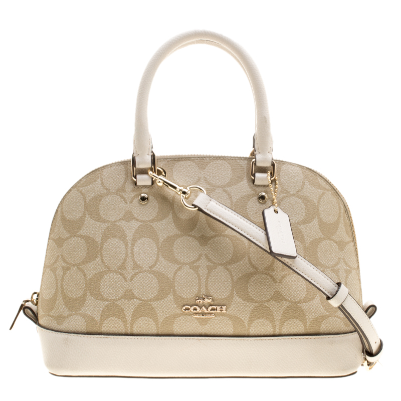 f5b87878 Coach Beige/White Signature Coated Canvas and Leather Sierra Satchel