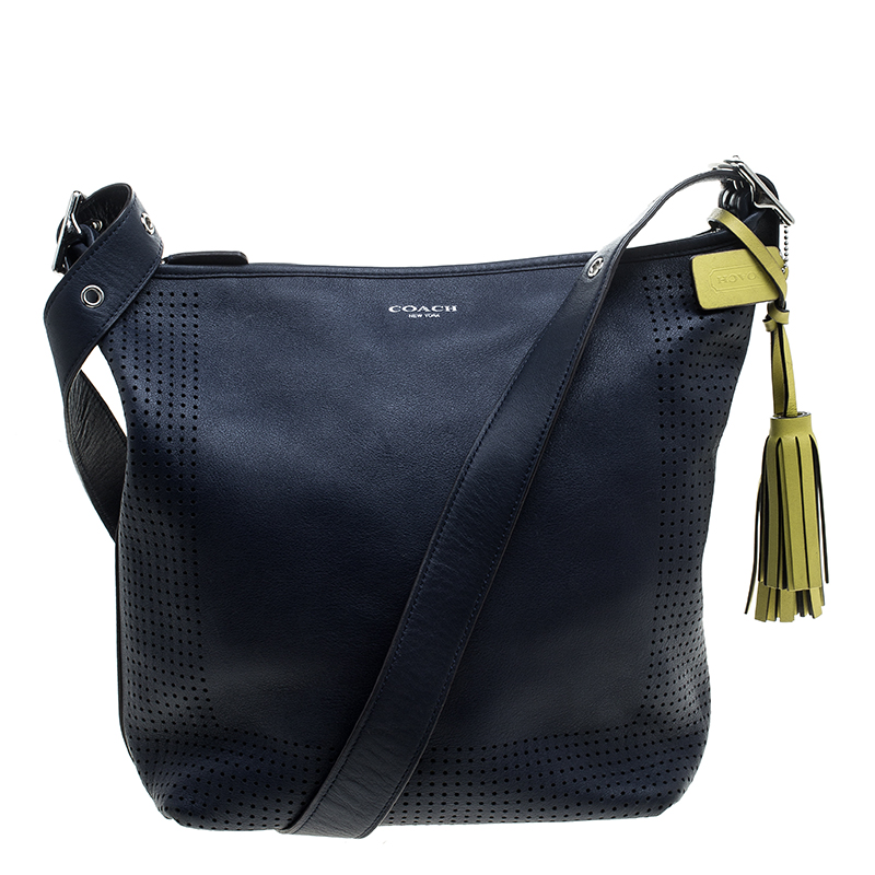 Coach Blue Perforated Leather Hobo