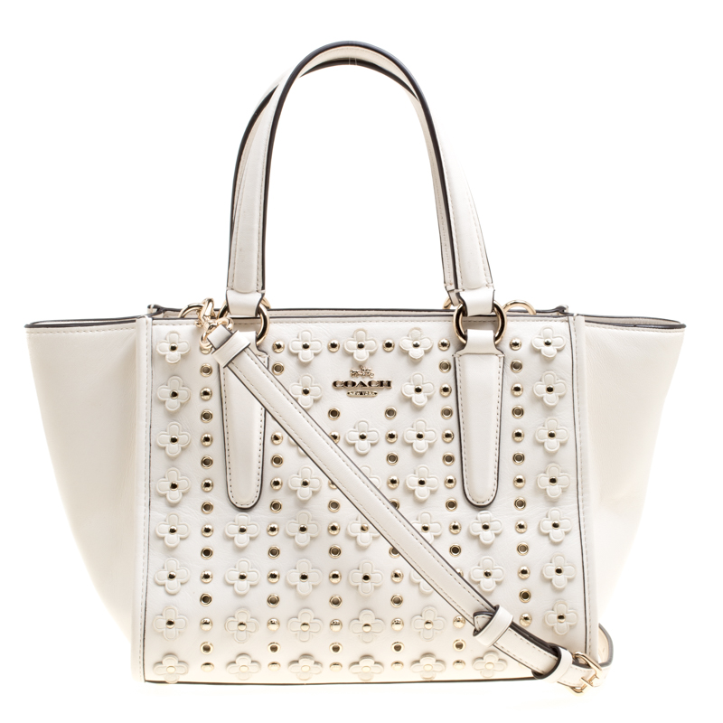 Coach Off White Leather Eyelet Fl Details Top Handle Bag