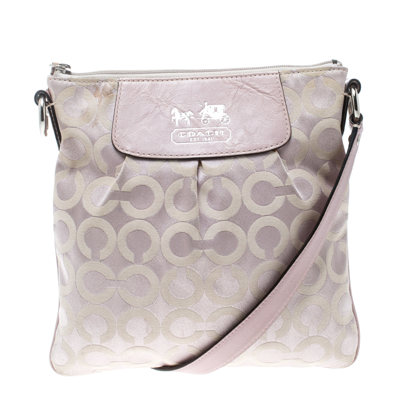 Coach Lilac Signature Fabric Opt Art Crossbody Bag