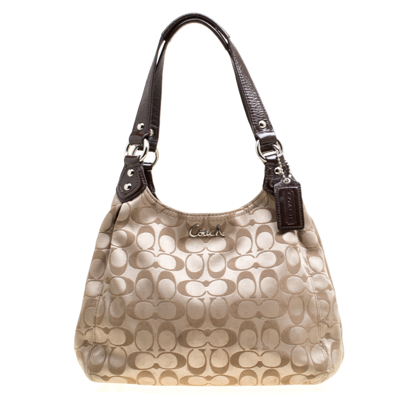 Coach Beige Brown Signature Fabric Shoulder Bag