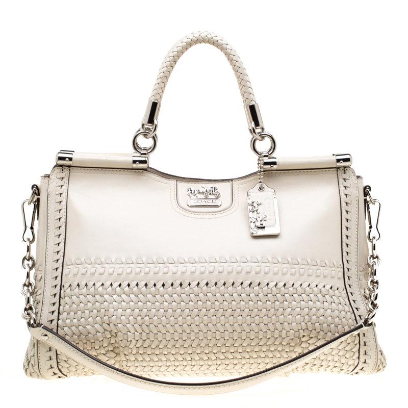 Off White Woven Leather Caroline Dowel