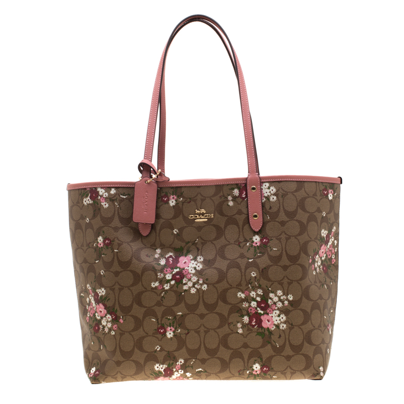 f54ccfb71d Coach Brown/Pink Floral Print Coated Canvas Reversible City Tote