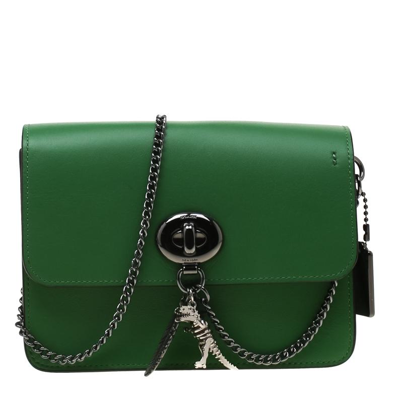 2e1ed50c585 Coach Green Leather Chain Crossbody Bag