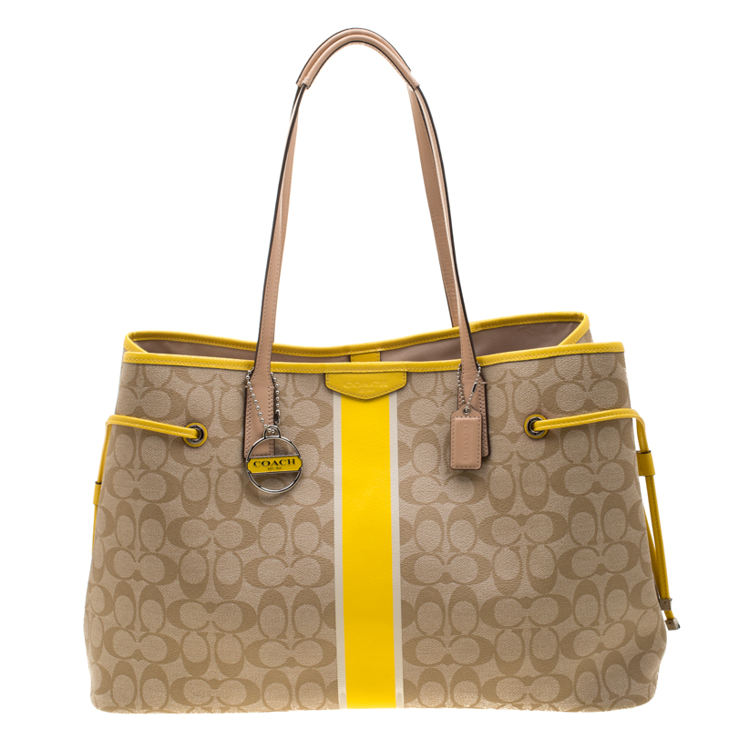 Coach Beige Yellow Coated Canvas And Leather Large Stripe Drawstring Signature Tote