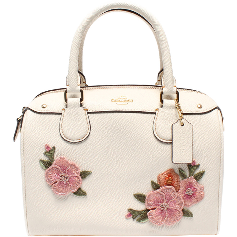 Coach White Leather Fl Print Everyday Bag
