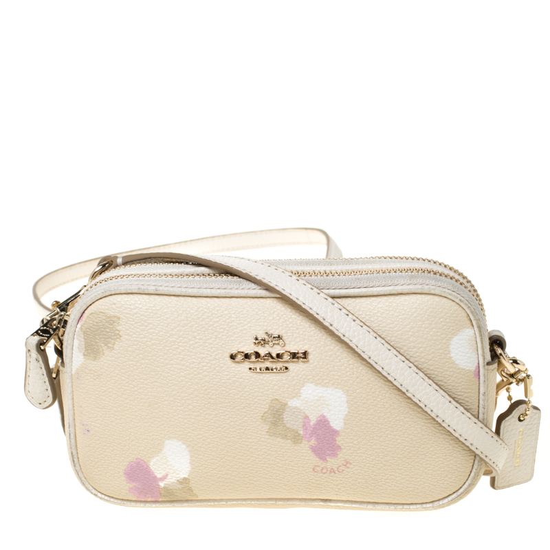 Coach Cream Printed Leather Sadie Crossbody Bag