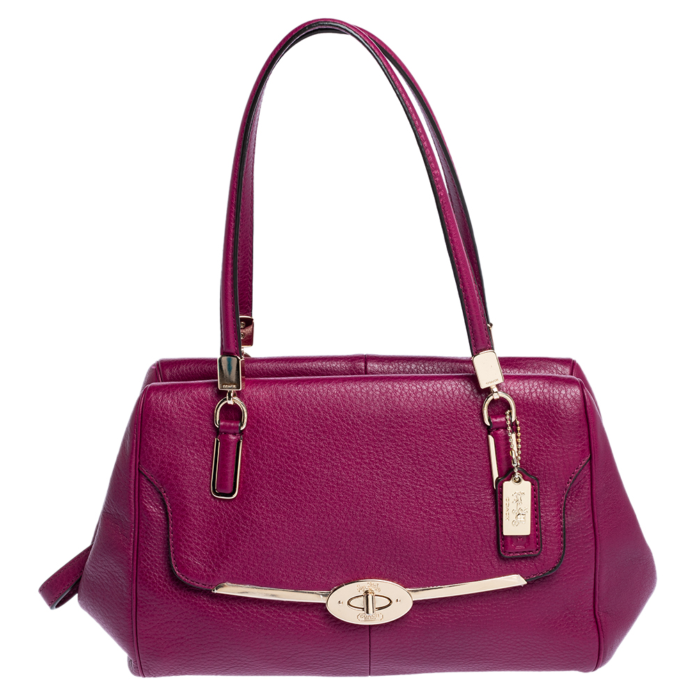 Pre-owned Coach Dark Pink Leather Madeline Satchel