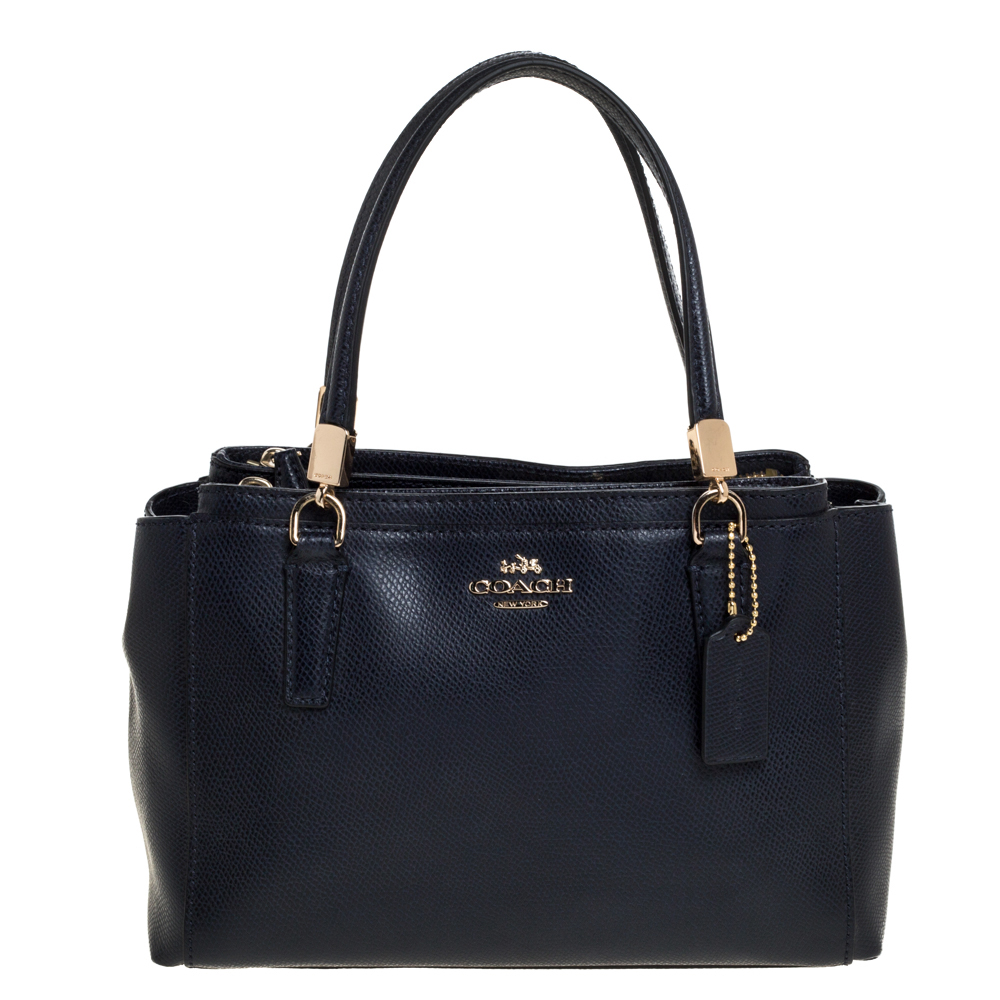 Pre-owned Coach Navy Blue Leather Mini Christie Carryall Satchel