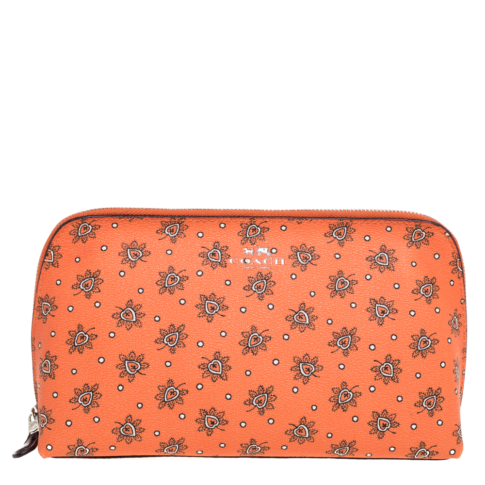 Pre-owned Coach Orange Bloom Print Coated Canvas Cosmetic Pouch