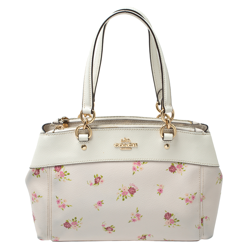 Coach White Daisy Print Coated Canvas and Leather Mini Brooke Carryall Satchel