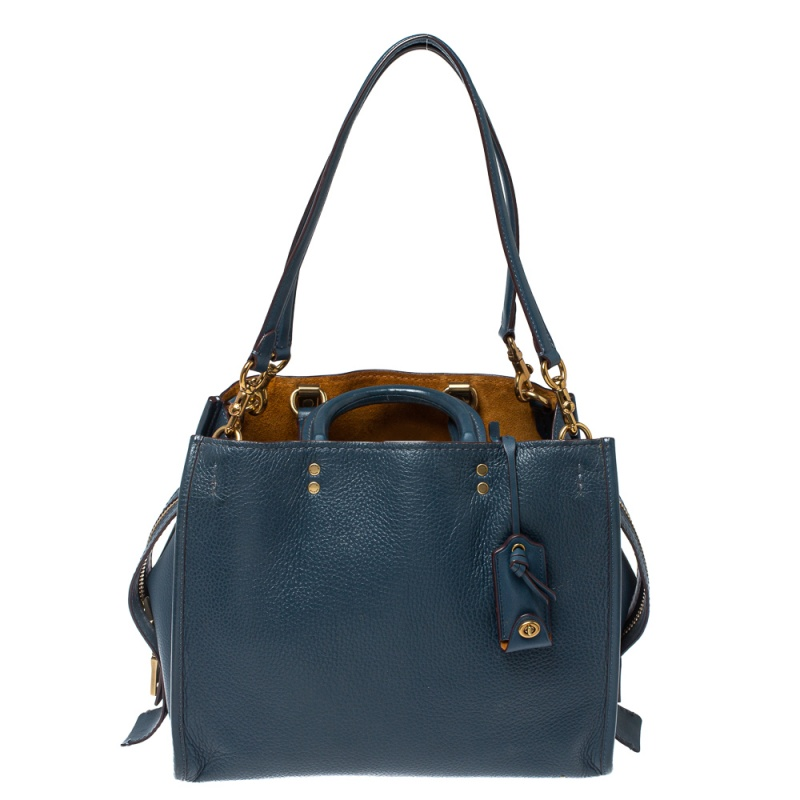 Pre-owned Coach Blue Leather Rogue Tote