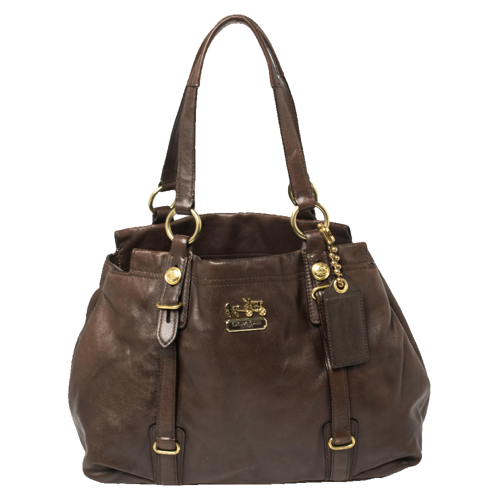 Pre-owned Coach Dark Brown Leather Mia Carryall Tote
