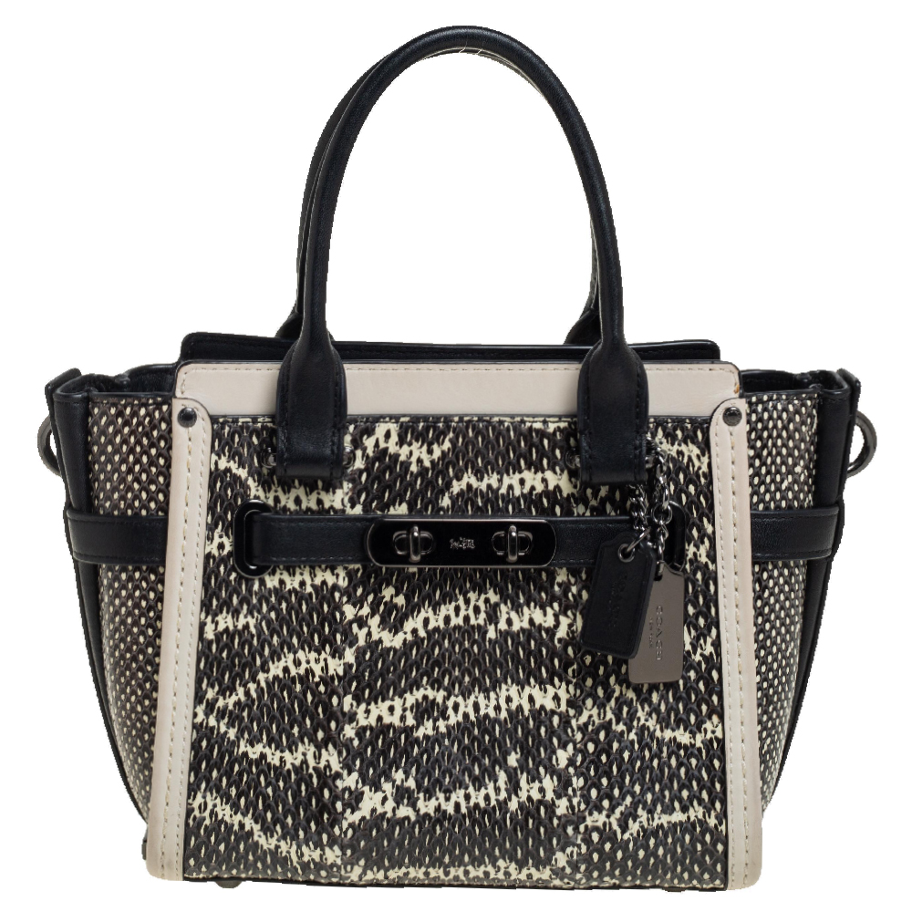 Pre-owned Coach Black/beige Snakeskin Effect And Leather Swagger 20 Tote