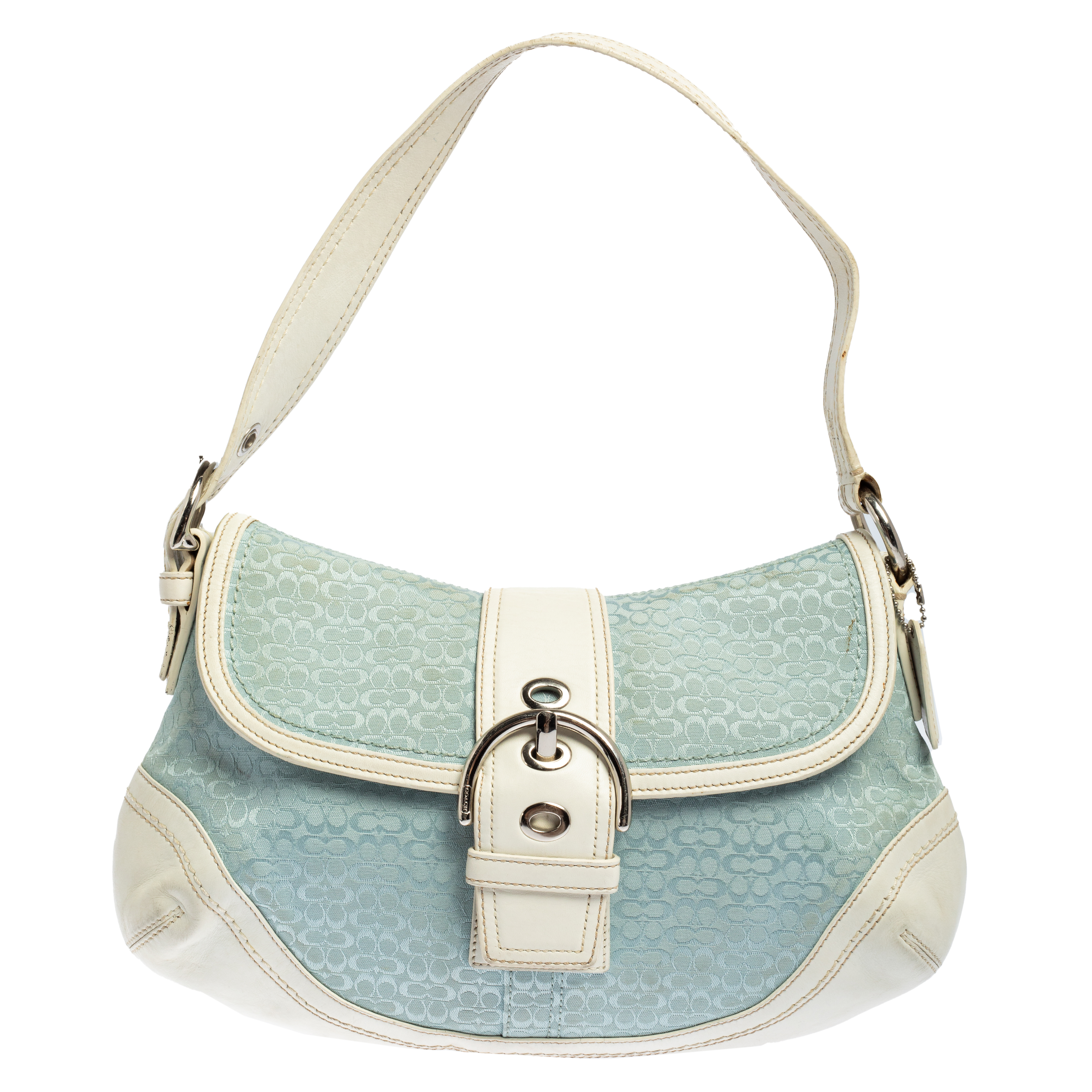Pre-owned Coach White/light Blue Signature Canvas And Leather Soho Baguette Bag