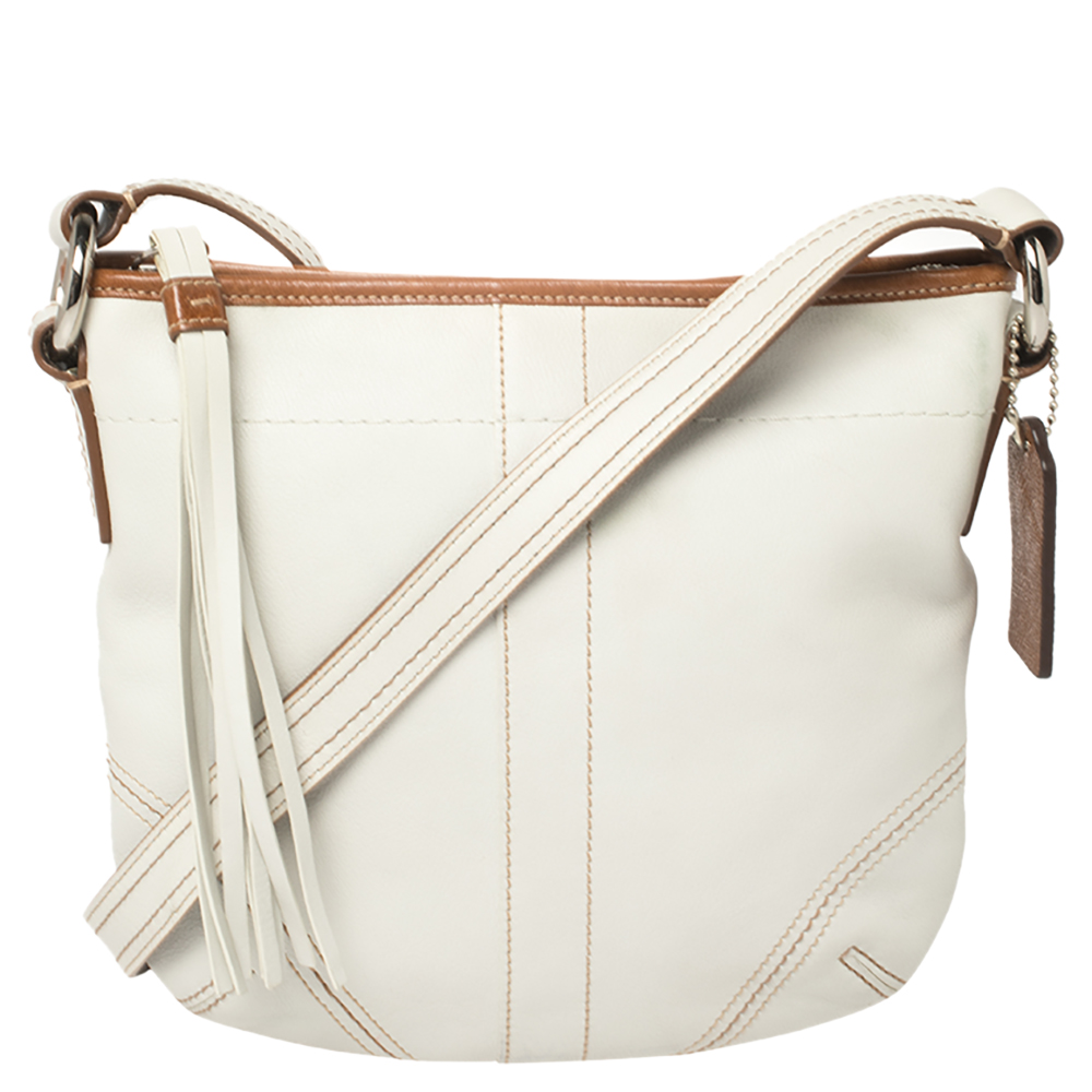 Pre-owned Coach White Leather Small Tassel Crossbody Bag