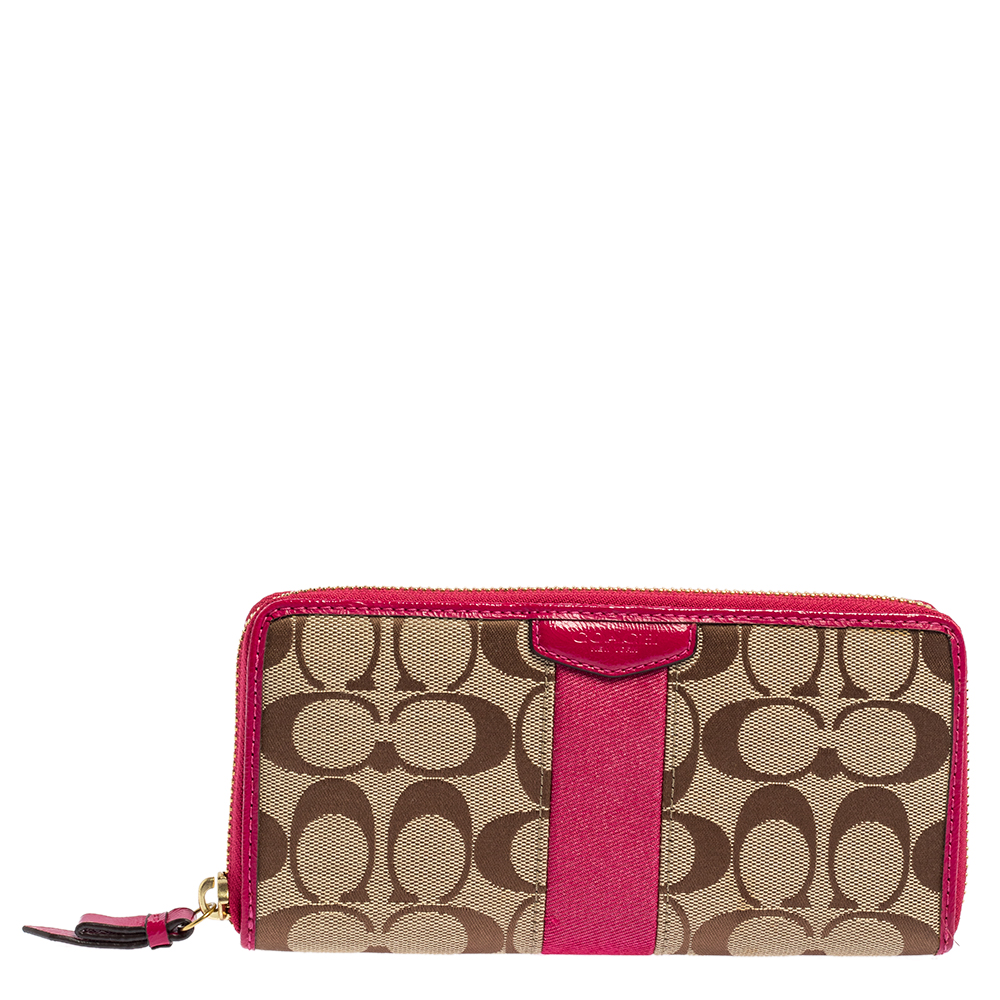 Pre-owned Coach Beige/fuchsia Signature Canvas And Patent Leather Zip Around Wallet