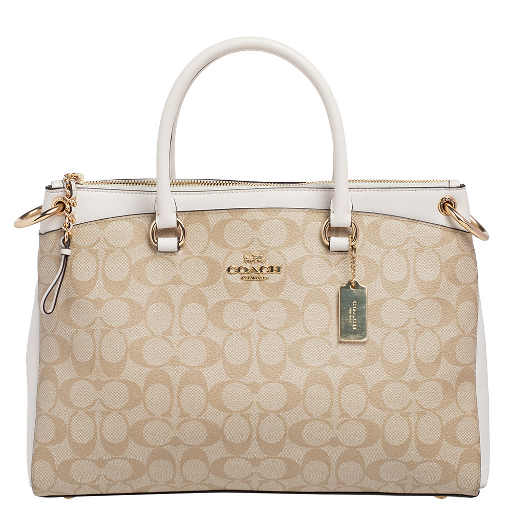 Pre-owned Coach Beige/white Signature Coated Canvas And Leather Mia Satchel
