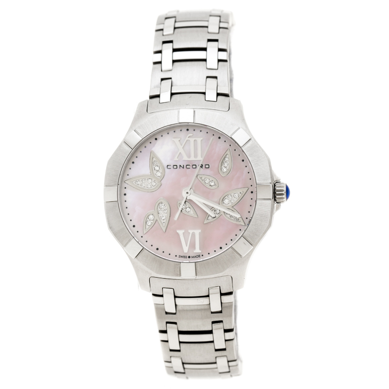 Concord Pink Mother of Pearl Diamond Petal Inlay Stainless Steel Saratoga 0320304 Women's Wristwatch 31 mm