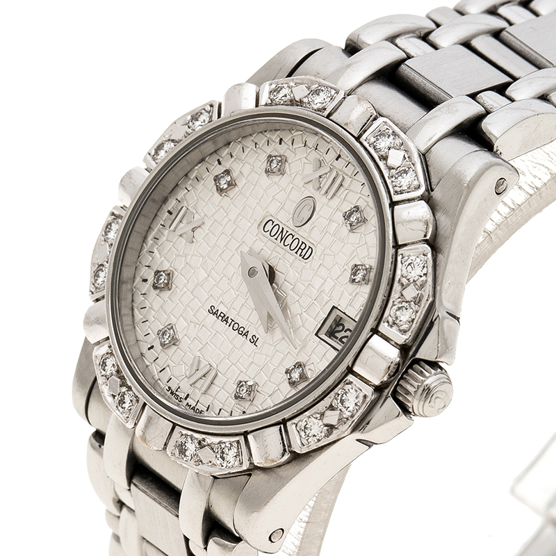 Concord Silver Stainless Steel Diamonds Saratoga Women's Wristwatch