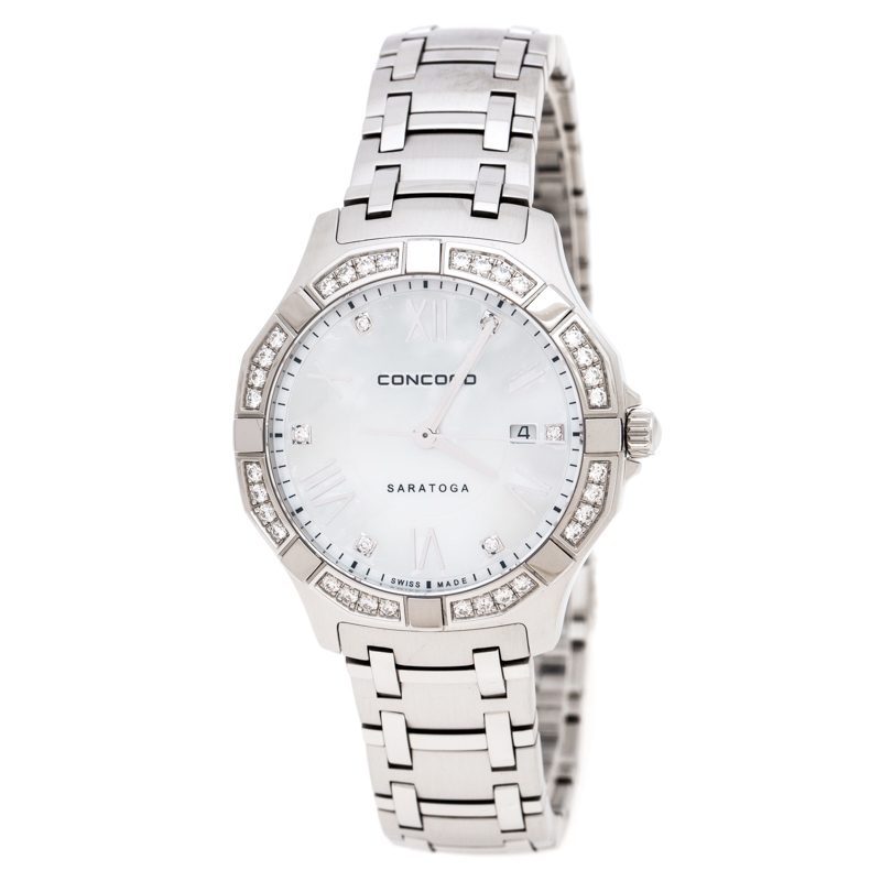 Concord Mother of Pearl Stainless Steel Diamonds Saratoga 02.3.14.1060S Women's Wristwatch 31 mm